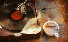 Picture heart, Cup, player, vinyl, record, grunge, grunge