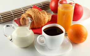 Picture apples, coffee, orange, Breakfast, milk, juice, Cup, white, pitcher, saucer, croissant
