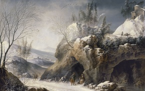 Picture road, rocks, picture, Francesco Foschi, Winter Landscape with a Peasant Family