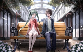 Picture anime, art, pair, Vocaloid, bench