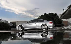 Picture reflection, bmw, BMW, silver, puddle, silver, wheels, e63, Miami, miami