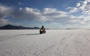 Picture desert, mountain, race, usa, utah, bonneville salt flats