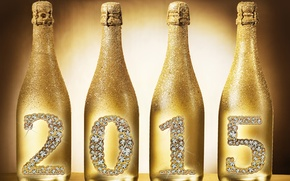 Picture New Year, bottle, golden, champagne, New Year, Happy, champagne, 2015