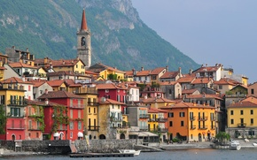 Picture sea, Varenna, boat, Lombardy, Italy, mountains, home