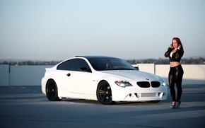 Picture white, girl, bmw, BMW, coupe, girl, white, e63, sports