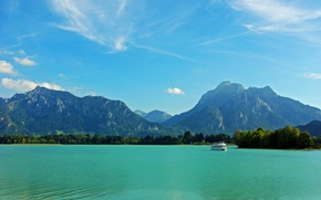 Picture trees, mountains, river, castle, Germany, Bayern, ferry, Germany, Bavaria, the sky.