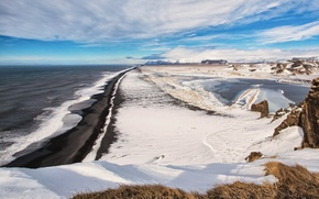 Picture winter, sea, the sky, clouds, snow, rocks