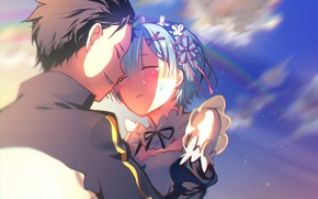 Picture anime, art, Subaru, Re: Zero kara hajime chip isek or Seikatsu, From scratch, REM