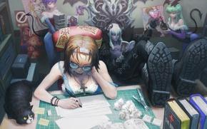 Picture cat, girl, books, the devil, Art, demons, dissatisfaction, writer, the devil reads a light novel