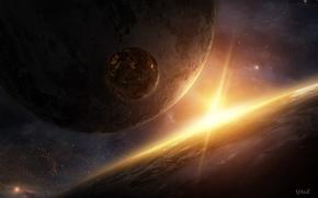Picture space, fiction, star, planet, art, QAuZ