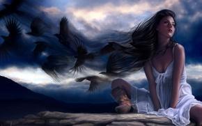 Picture the sky, blue, black, boots, art, women, ravens