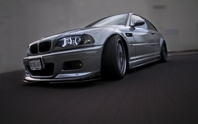 Picture reflection, bmw, BMW, speed, headlight, silver, front view, speed, silvery, e46, daylight