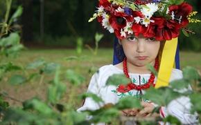 Picture face, girl, tape, wreath, Ukraine, Ukrainian