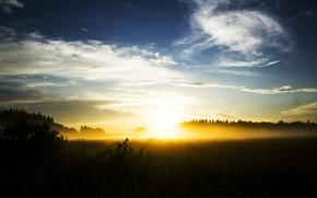Picture field, summer, the sun, clouds, light, landscape, sunset, nature, fog