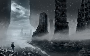 Picture winter, snow, clouds, the city, weapons, destruction, art, devastation, ruins, romance of the Apocalypse, romantically …