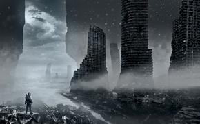 Picture winter, snow, clouds, the city, weapons, destruction, art, devastation, ruins, romance of the Apocalypse, romantically …