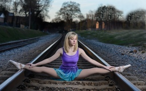 Picture girl, rails, the situation, railroad, ballerina, twine, Pointe shoes