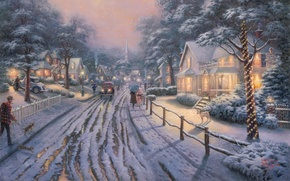 Picture winter, road, snow, machine, lights, lights, people, dog, picture, Christmas, houses, umbrellas, town, painting, Christmas, …