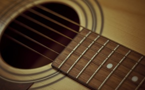 Wallpaper yellow, acoustics, brown, guitar