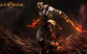 Picture fire, flame, sword, rock, demigod, Kratos, God of War, general, man, ken, captain, hero, spartan, …