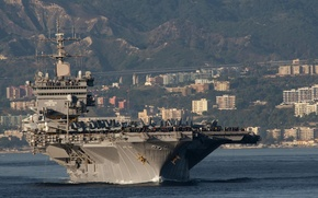 Picture mountains, the city, Bay, fighters, Enterprise, with nuclear power, First aircraft carrier, the number CVN-65
