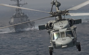 """Picture sea, helicopter, multipurpose, UH-60, Black Hawk, type, destroyer, """"Arleigh Burke"""""""