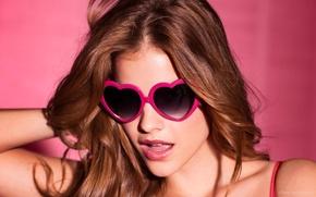 Picture girl, background, pink, model, glasses, beauty, hearts, sexy, beauty, beautiful, model, Barbara Palvin, Barbara Palvin