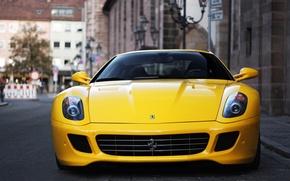 Picture yellow, the city, blur, Ferrari, Fiorano, supercar, Ferrari, GTB, 599, yellow, V12, bokeh, sportscar, Cut
