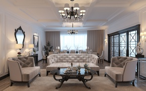 Picture flower, design, sofa, chairs, pictures, living room, decor, chandeliers