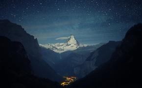 Picture mountains, night, valley, town, Switzerland, Alps, Matterhorn, the Lauterbrunnen valley