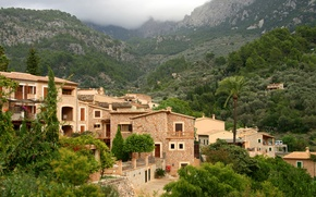 Picture forest, trees, mountains, home, valley, Spain, Mallorca, Fornalutx