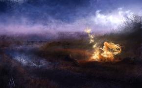 Picture girl, night, river, fire, magic, art
