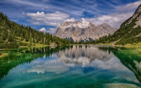 Picture the sky, clouds, landscape, mountains, nature, lake