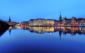 Picture the sky, sunset, bridge, lights, reflection, river, mirror, Stockholm, Sweden, Stadsholmen