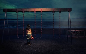 Picture sea, swing, toy, surf, girl, twilight