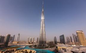 Wallpaper the sky, water, sunset, home, skyscrapers, tower, Dubai, Dubai, Burj Khalifa