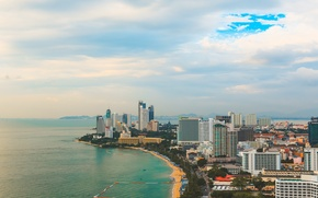 Wallpaper pahta, Hilton, the view of the bird's flight, paint, island, hilton, shore, overview, roof, sand, ...