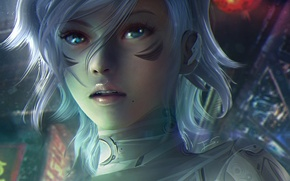Picture eyes, look, girl, face, fiction, hair, beauty, anime, cyberpunk