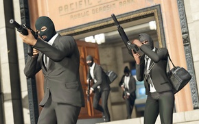 Picture weapons, people, thieves, mask, bags, robbery, GTA, Rockstar, the robbers, Grand Theft Auto V, GTA …