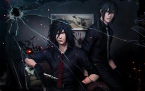 Picture blood, knife, tie, male, shirt, guy, Naruto, anime, art, power uchiha, Iz Chew Uchiha