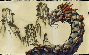 Picture picture, bronze dragon, mountains