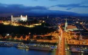 Picture lights, twilight, Slovakia, Bratislava