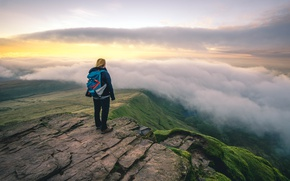 Picture green, girl, clouds, rocks, morning, dawn, sunlight, adventure, trip, cliff, peak