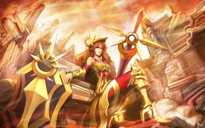 Picture girl, destruction, art, ruins, league of legends