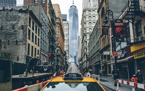 Picture people, street, building, New York, working, taxi, Manhattan, life, One World Trade Center, United States, ...