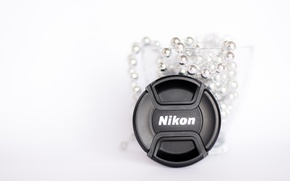 Picture glass, macro, photo, minimalism, Cup, Nikon, white background, beads, silver, white, lens cap
