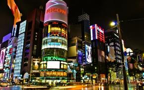 Picture Tokyo, Japan, stores, road, crossroads, Japan, excerpt, lights, street, the city, night, Tokyo, building