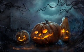 Wallpaper trees, night, the moon, tower, art, pumpkin, Halloween, gloomy, Scarecrow, faces