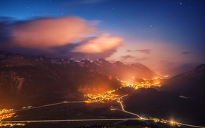 Picture mountains, night, the city, lights