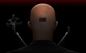 Picture weapons, guns, head, barcode, bald, Hitman, black background, barcode, Agent 47, Hitman, the back of …